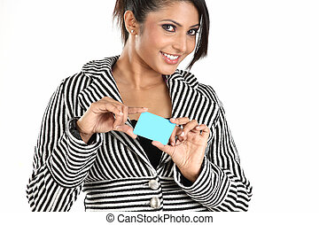 Business woman with blue blank card