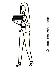 business woman with book avatar character