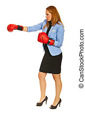 Business woman with box gloves