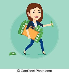 Business woman with briefcase full of money.