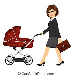 business woman with briefcase pushing pram, baby carriage or stroller