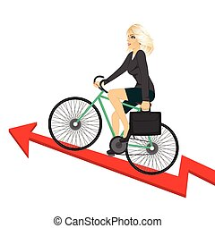 Business woman with briefcase riding bicycle up a success arrow. Business growth concept.