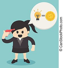 business woman with brilliant ideas. Idea of