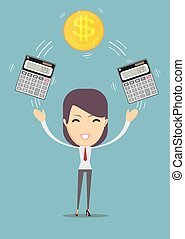 Business woman with calculator and money. Profit, finances concept.