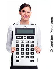 Business woman with calculator.