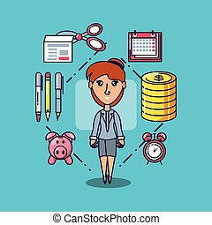 business woman with calendar and set icons