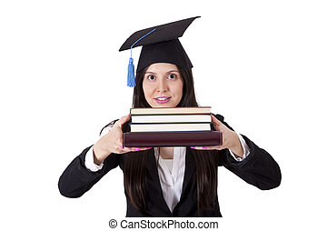 business woman with cap and books