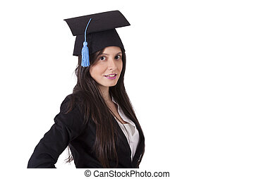 business woman with cap