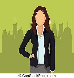 business woman with city in the background image vector...