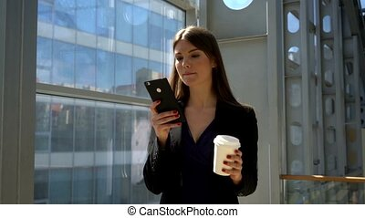 Business woman with coffee