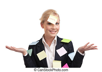 Business woman with colored stickers on her face, isolated ...