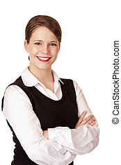 Business woman with crossed arms looks laughs happy into camera