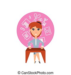 business woman with desk and set icons office