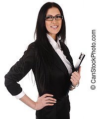 business woman  with documents in hands, isolated