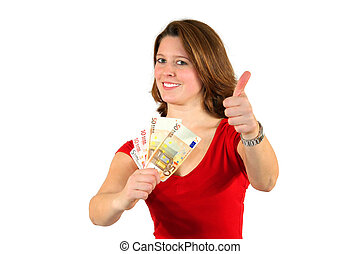 business woman with euro bills posing with thumbs up sign -...