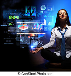 Business woman with financial symbols around