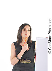 Business Woman with flip chart