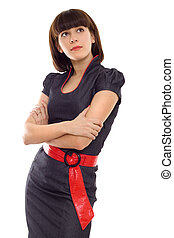 business woman with folded hands isolated
