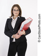 Business woman with folder in her hands.