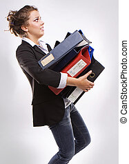 business woman with folders for documents