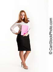 Business woman with folders on a light background