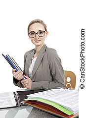 business woman with folders on desk office