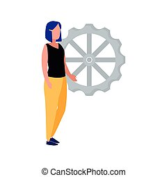 business woman with gear background