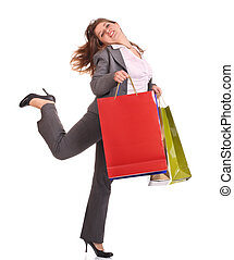 Business woman with gift bag run.