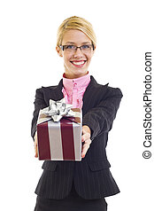 Business woman with gift