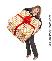 Business woman with gift box. Isolated.