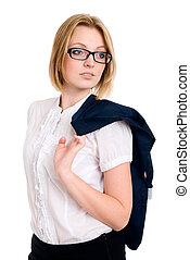 Business woman with glasses looks aside. isolated on a white...