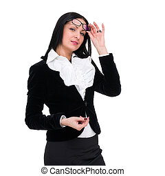 business woman with glasses, isolated over white
