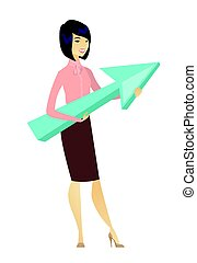 Business woman with growth graph.