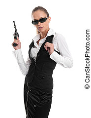 business woman with gun