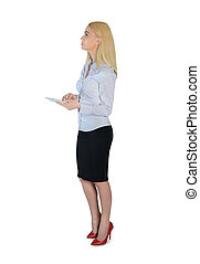 Business woman with hand calculator