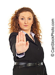 Business woman with hand stop