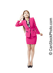 Business woman with hand to ear listening
