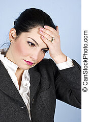 Business woman with headache or problems