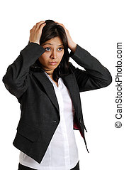 Business woman with her hands on her head due failure - This...