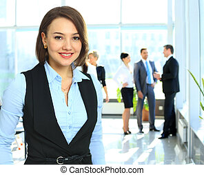 business woman with her staff,