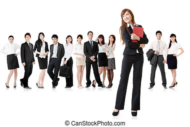 business woman with her team