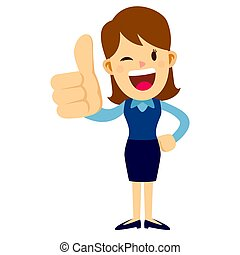 Business Woman With Her Thumbs Up Hand Sign