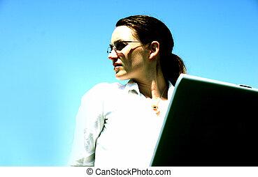 Business woman with laptop 3 - Business woman with glasses...