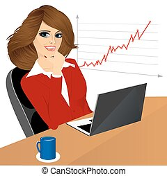 business woman with laptop in the office