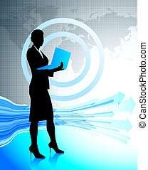 Business woman with laptop on world map