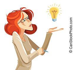 Business woman with light bulb idea vector cartoon ...