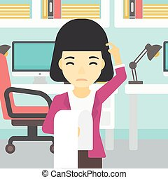 Business woman with long bill vector illustration.