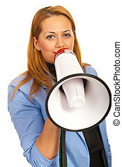 Business woman with loudspeaker