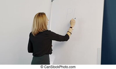Business woman with marker writes on magnetic board plan....
