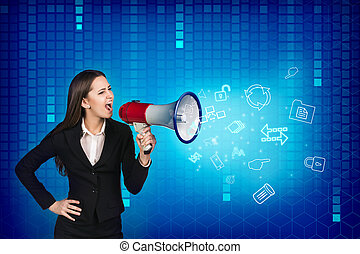 Business woman with megaphone is yelling